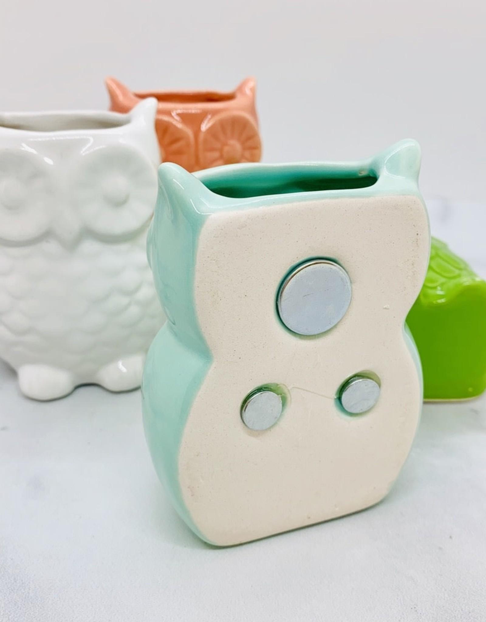 "CREATIVECOOP 2-3/4"" x 3-1/4"" Stoneware Owl Vase w/ Magnet"