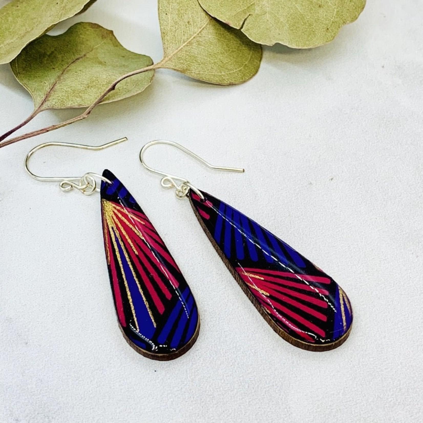 Colorful wood teardrop earring