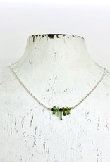 Handmade Silver Necklace with 5 green tourmaline bar across, silver