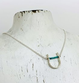 Handmade Silver Necklace with large hammered u, tiny faceted turquoise