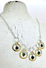 Handmade Silver Necklace with 5 hammered 14 k g.f. rings, emerald coins, silver chain