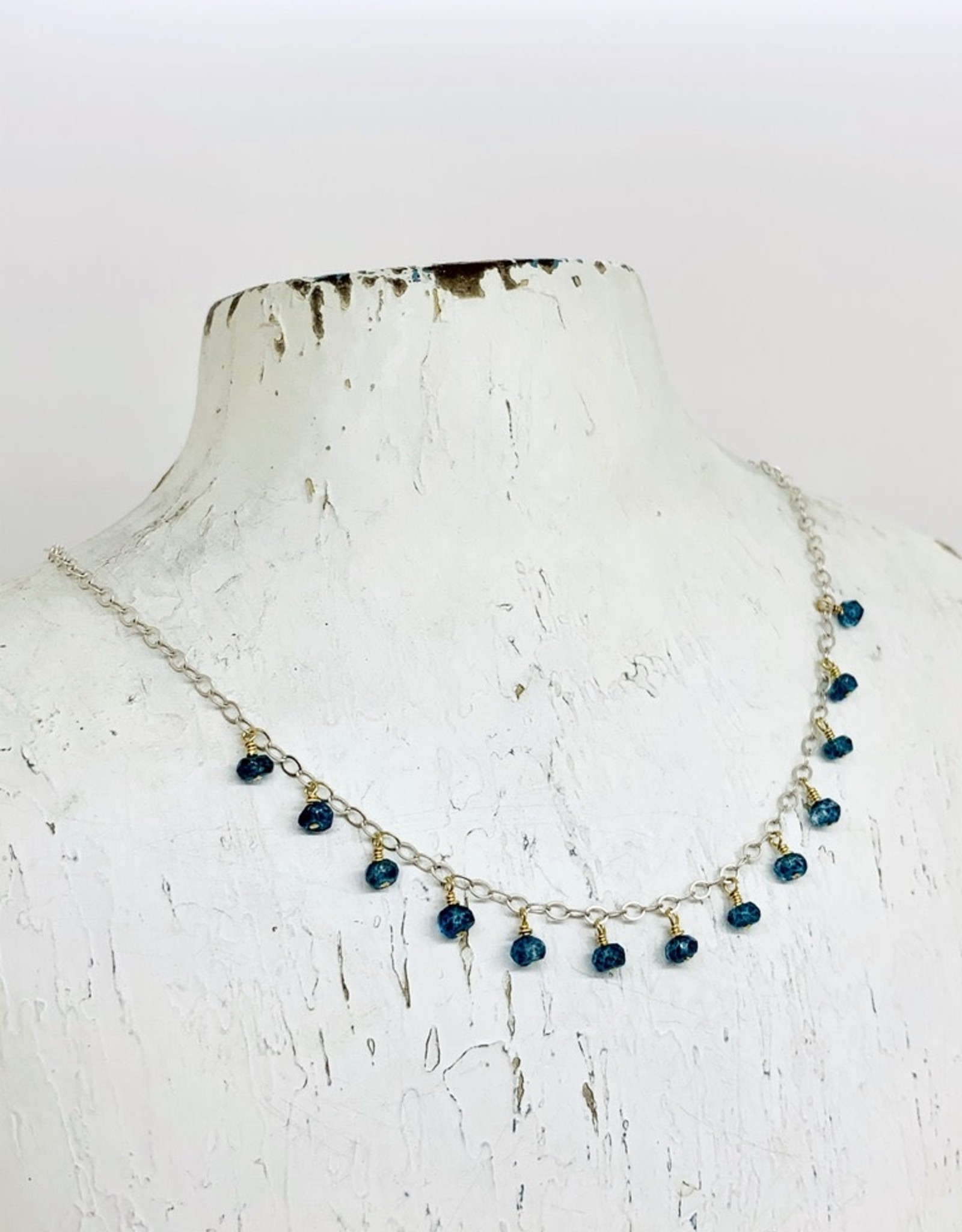 Handmade Silver Necklace with 13 london blue topaz rondelles on 14 k g.f. headpins, silver chain