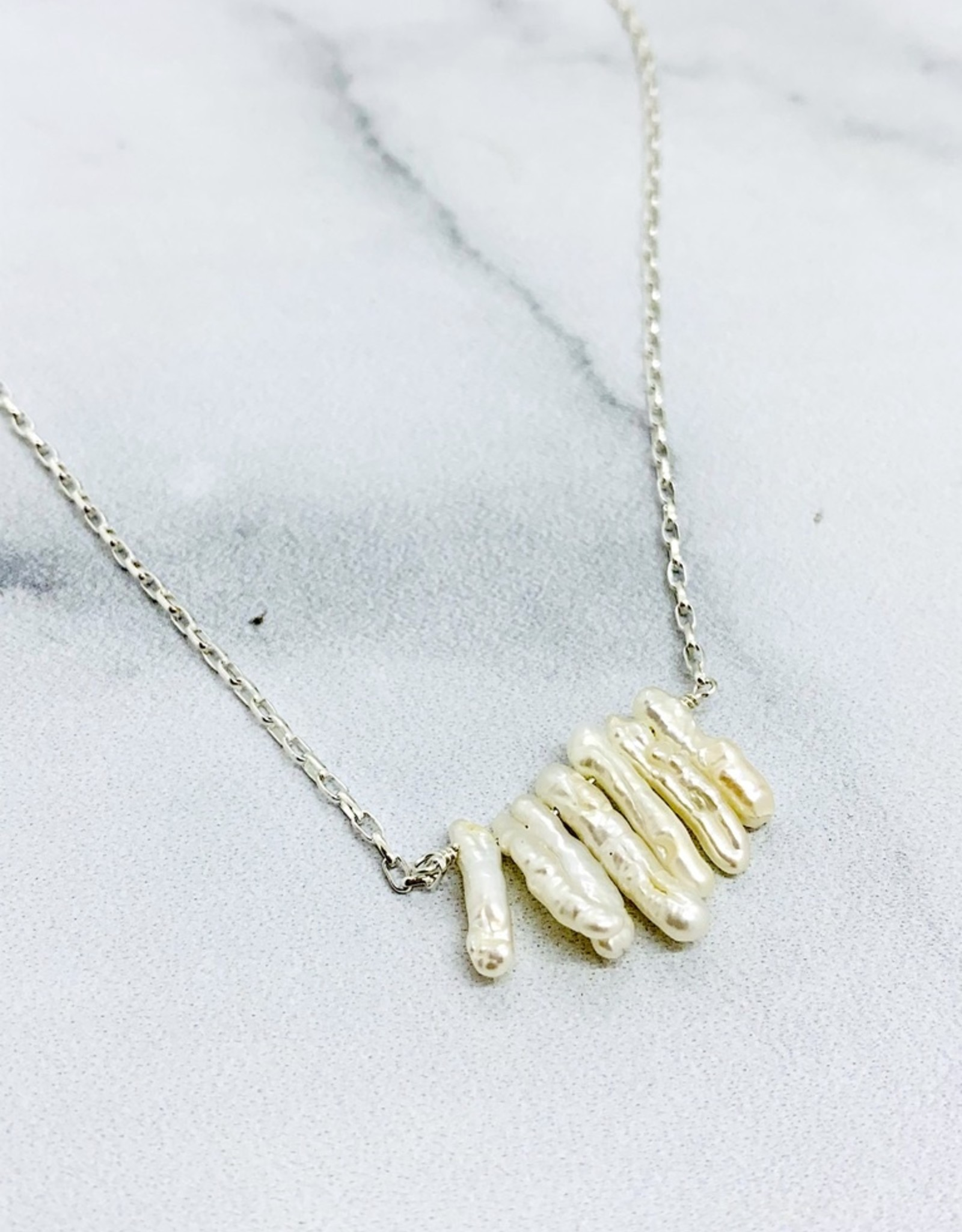 Handmade Silver Necklace with 7 white stick pearls