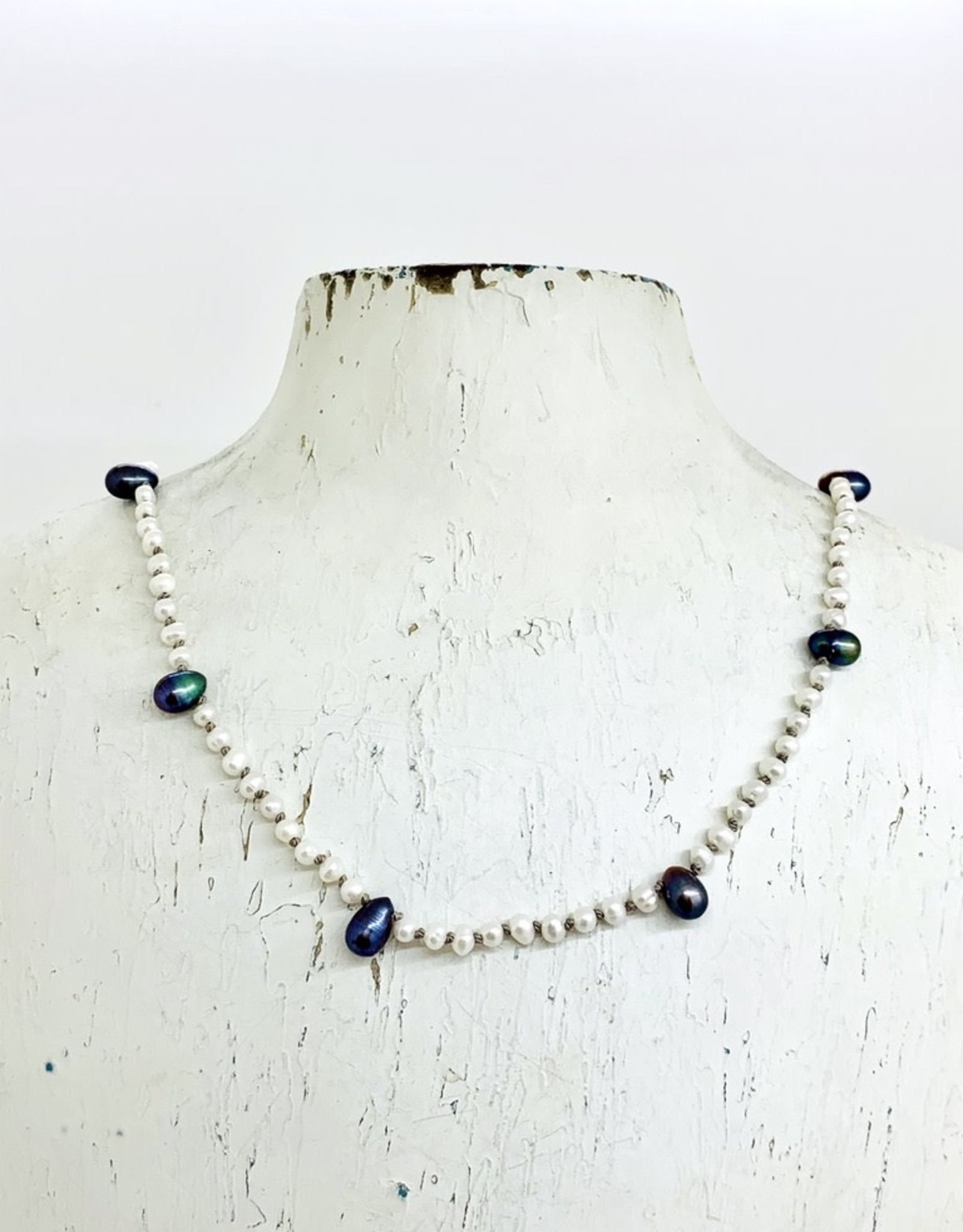 Handmade Silver Necklace with white pearls, 9 peacock pearls knotted on grey silk