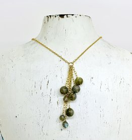 Handmade Silver Necklace with 8 labradorite on chains, 14 k g.f.