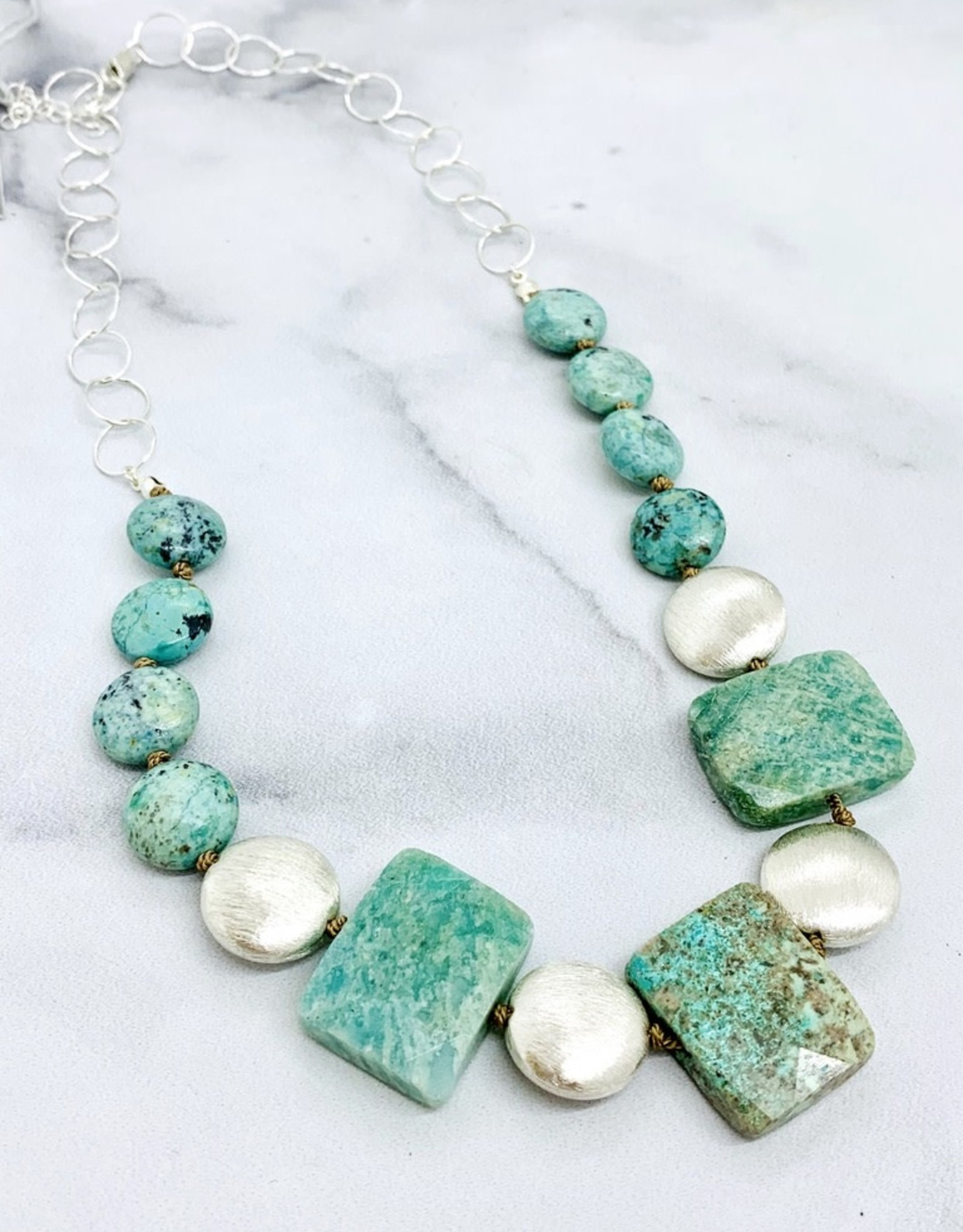 Handmade Silver Necklace with 8 turquoise coins, 3 rectangle chrysocolla, 4 large brushed coins
