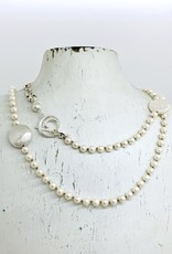 Handmade Silver Necklace with white pearls, white coin pearls, 1 large brushed coins knotted on natural silk, 2 short strands faceted silver knotted on natural silk