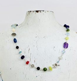 Handmade Silver Necklace with silver, fluorite, pearl, aquamarine, turquoise, sapphire, jade, moonstone, lapis, amethyst, herkimer diamond, labradorite, opal