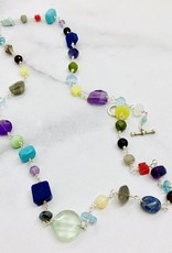 Handmade Silver Necklace with silver, fluorite, pearl, aquamarine, turquoise, sapphire, jade, moonstone, lapis, amethyst, herkimer diamond, labradorite, opal