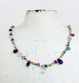 Handmade Silver Necklace with strung: amethyst, pink tourmaline, london blue topaz, green amethyst, turquoise briolettes, misc stones, silver