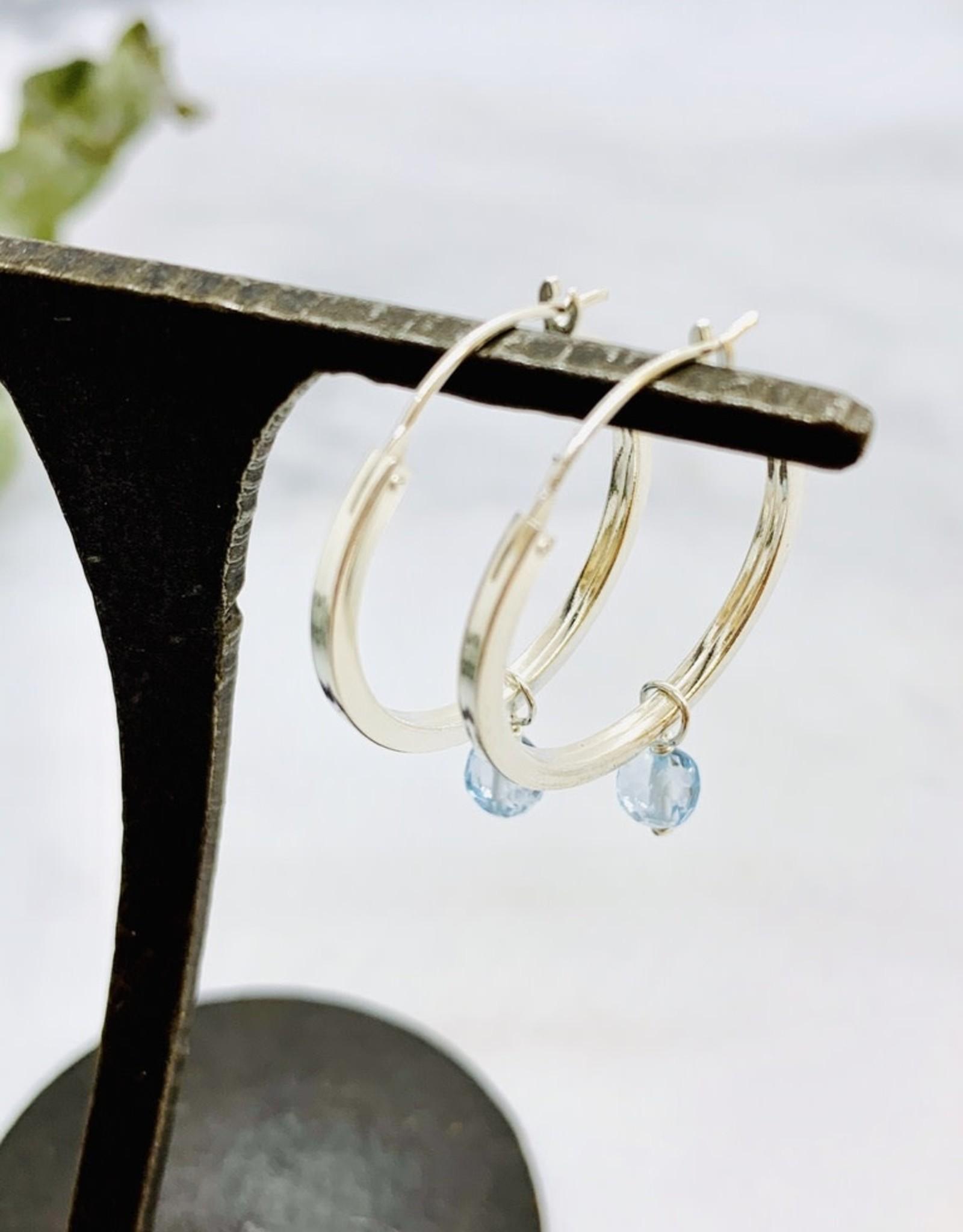 Handmade Silver Earrings with larger shiny hoop, sky blue topaz ball