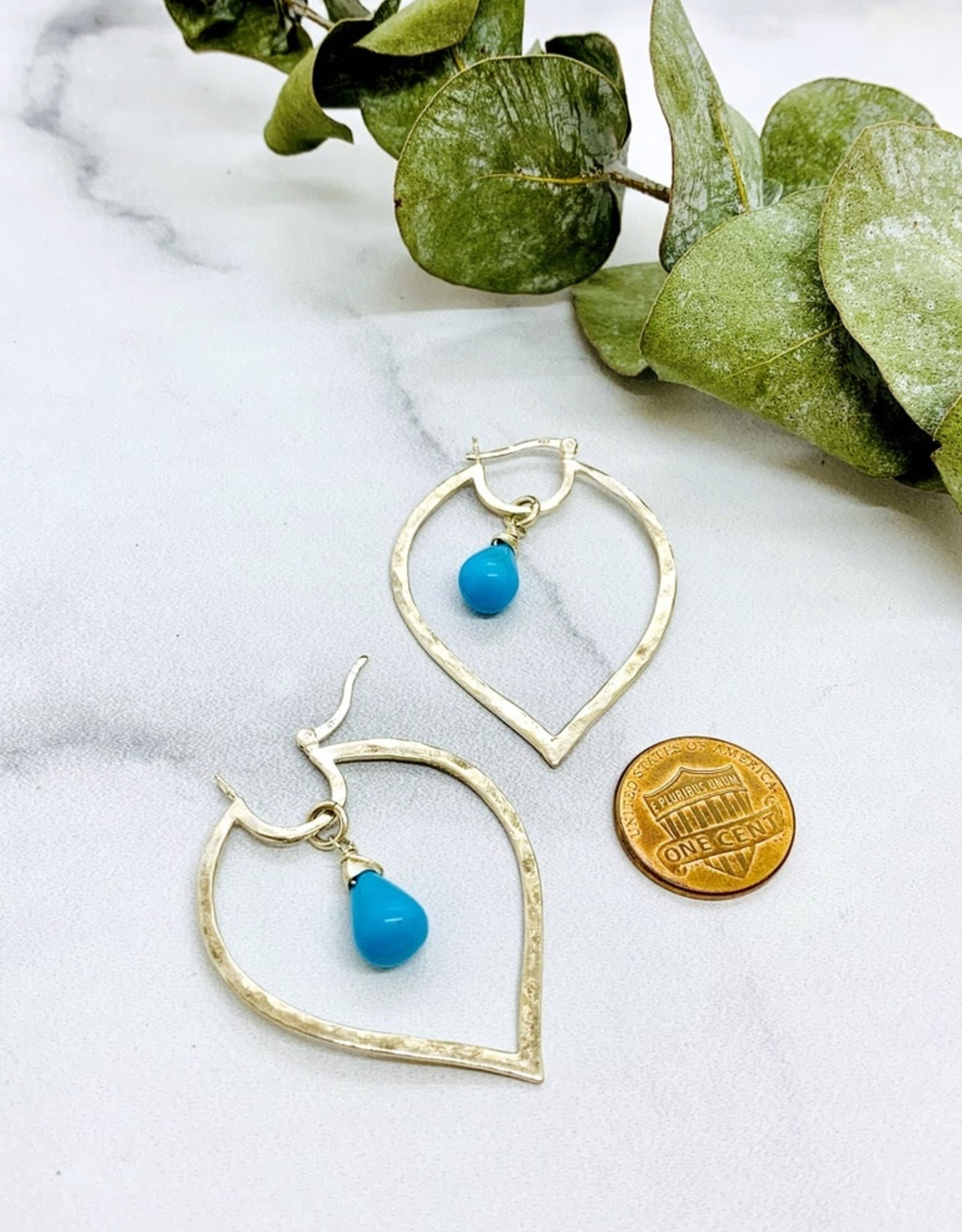 Handmade Silver Earrings with hammered marquis hoop, turquoise briolette