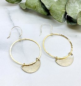 Handmade Silver Earrings with large hammered 14 k g.f. ring, hammered shiny 1/2 circle