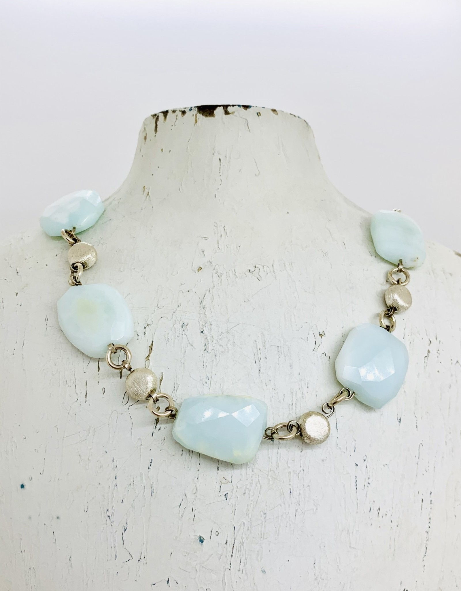 Handmade Silver Necklace with 5 blue opal nuggets, 4 brushed coins