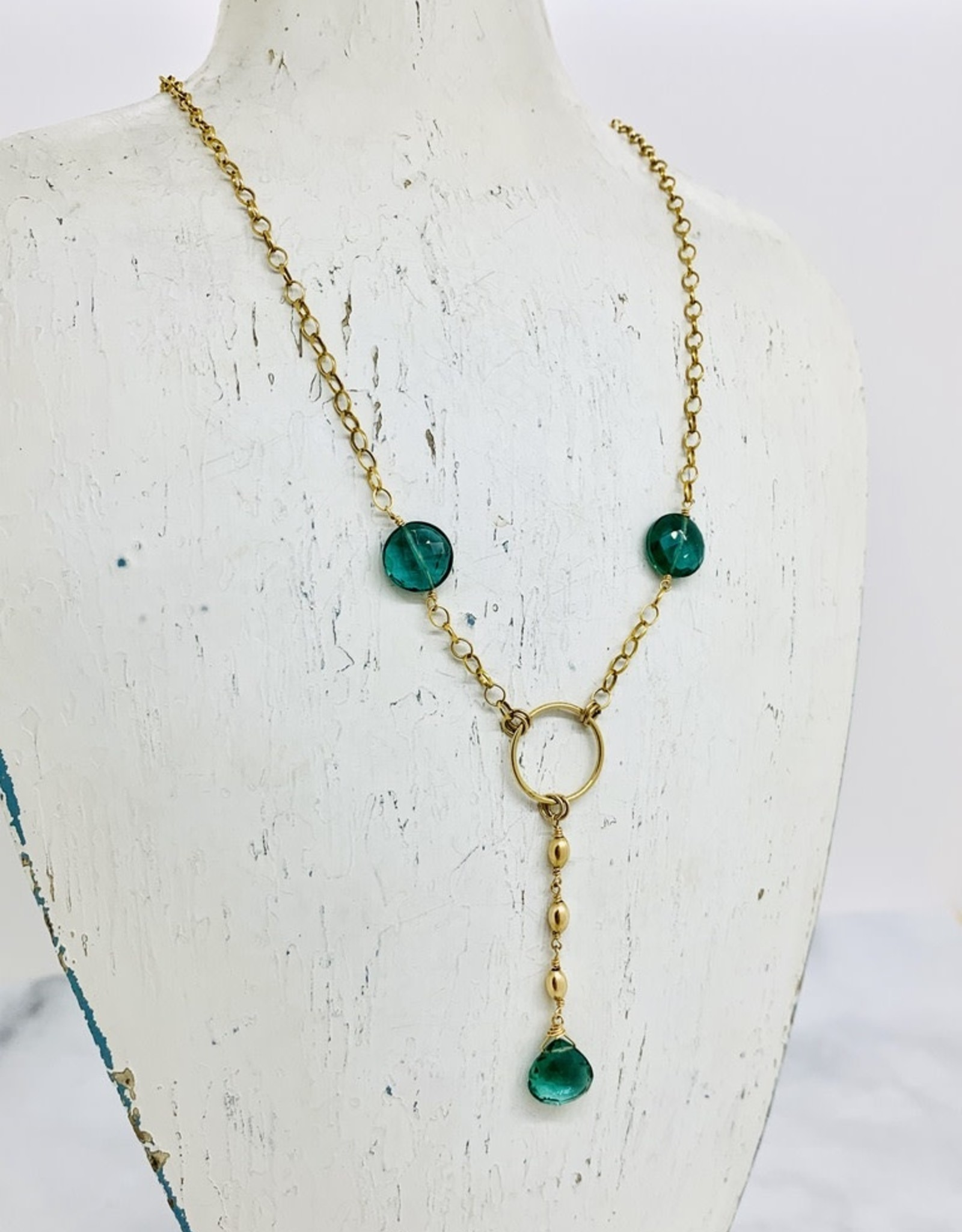 """EVANKNOX Handmade Sterling Silver Necklace with y: 2 green hydro coins, briolette, 3 14 k g.f. rice dangle, 14 k g.f. ring, up to 18"""", pendant is 2.25"""""""