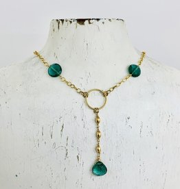 "EVANKNOX Handmade Sterling Silver Necklace with y: 2 green hydro coins, briolette, 3 14 k g.f. rice dangle, 14 k g.f. ring, up to 18"", pendant is 2.25"""