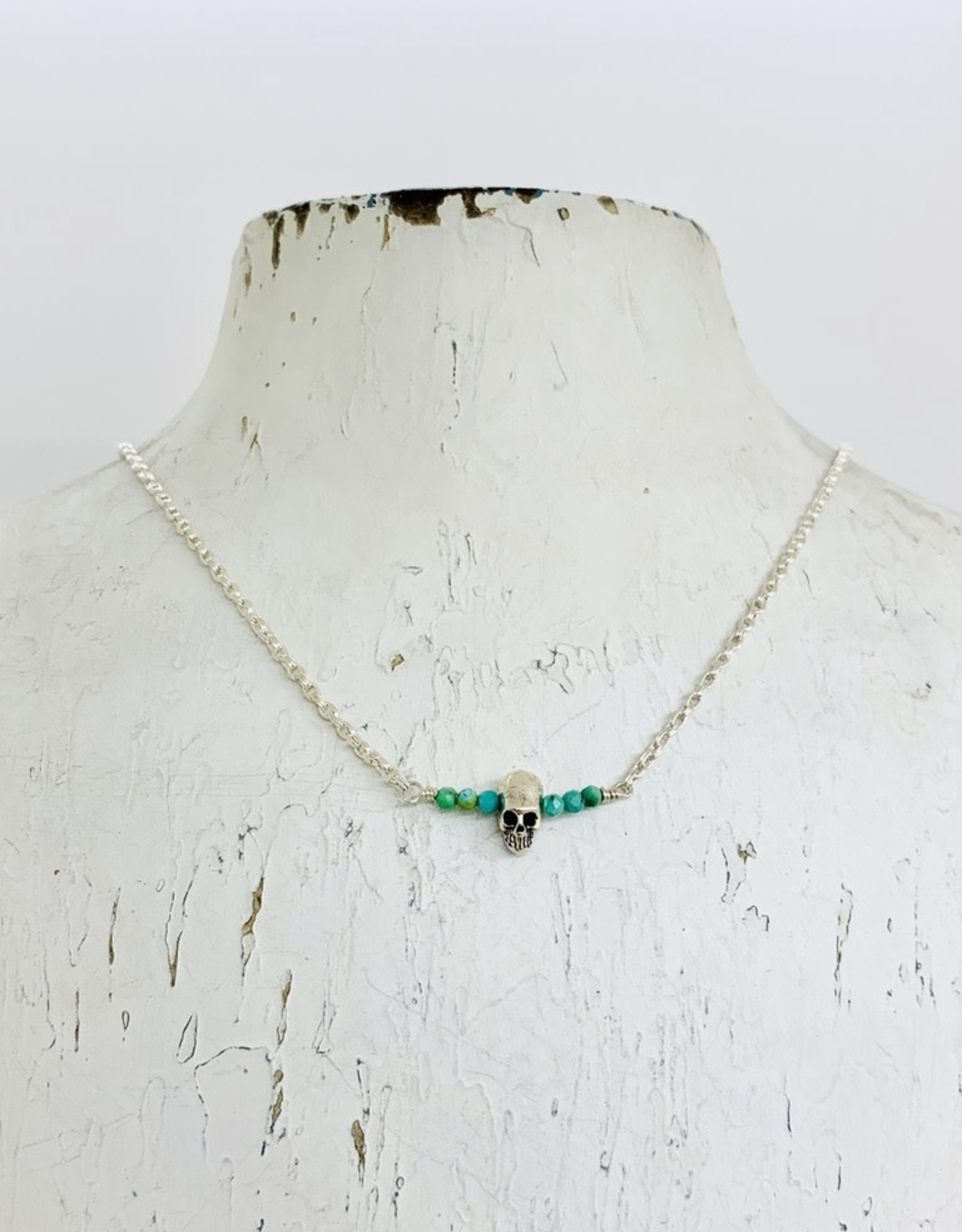Handmade Silver Necklace with 8 tiny turquoise, shiny skull