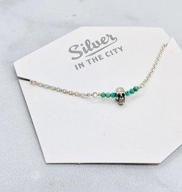 Handmade Silver Necklace with 8 tiny turquoise, shiny skull