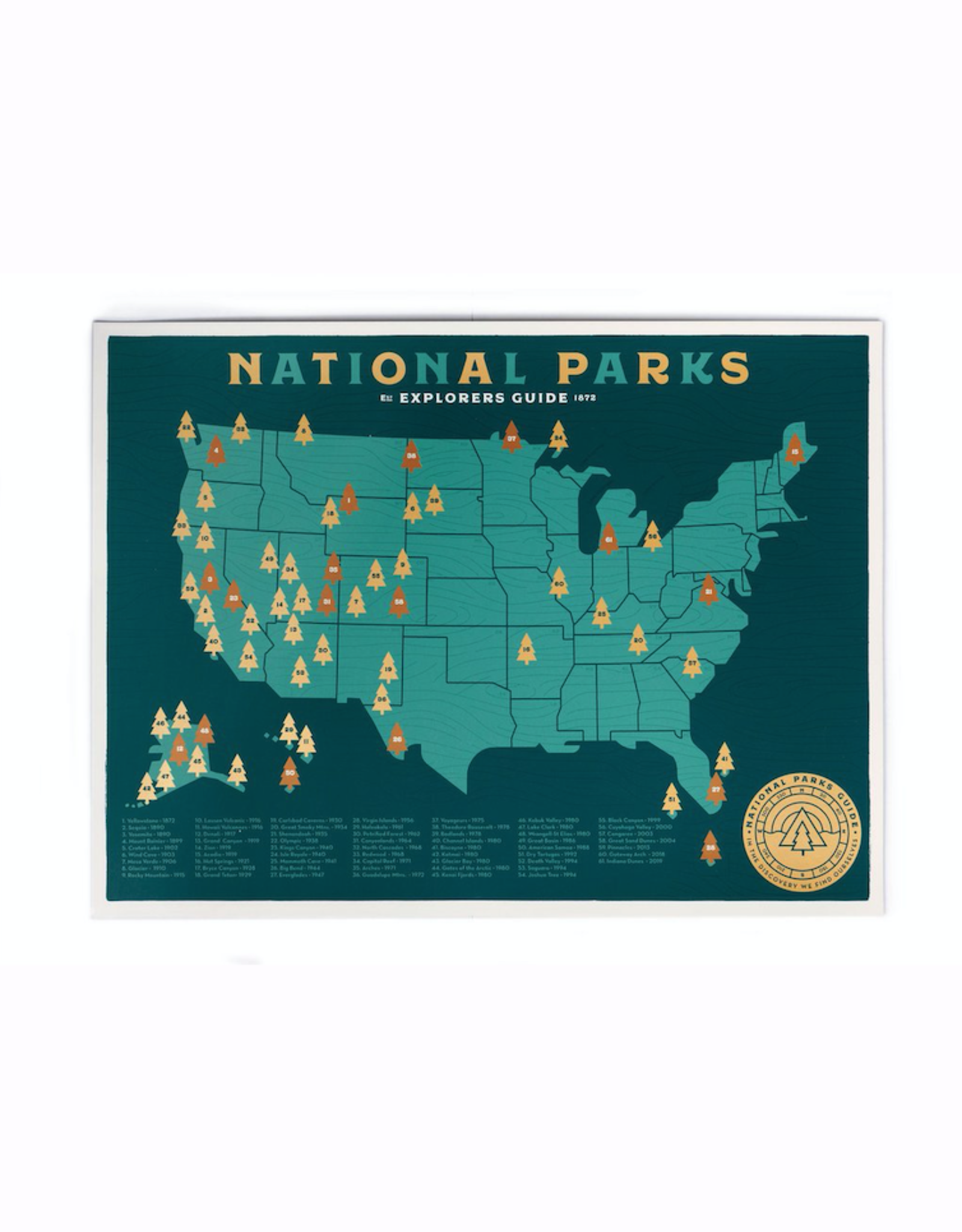 Ello There Print Co. 18x24 Special Edition Green  Screen National Parks Checklists with Gold Stickers