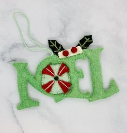 "5""H Wool Felt Noel Ornament with Embroidery"