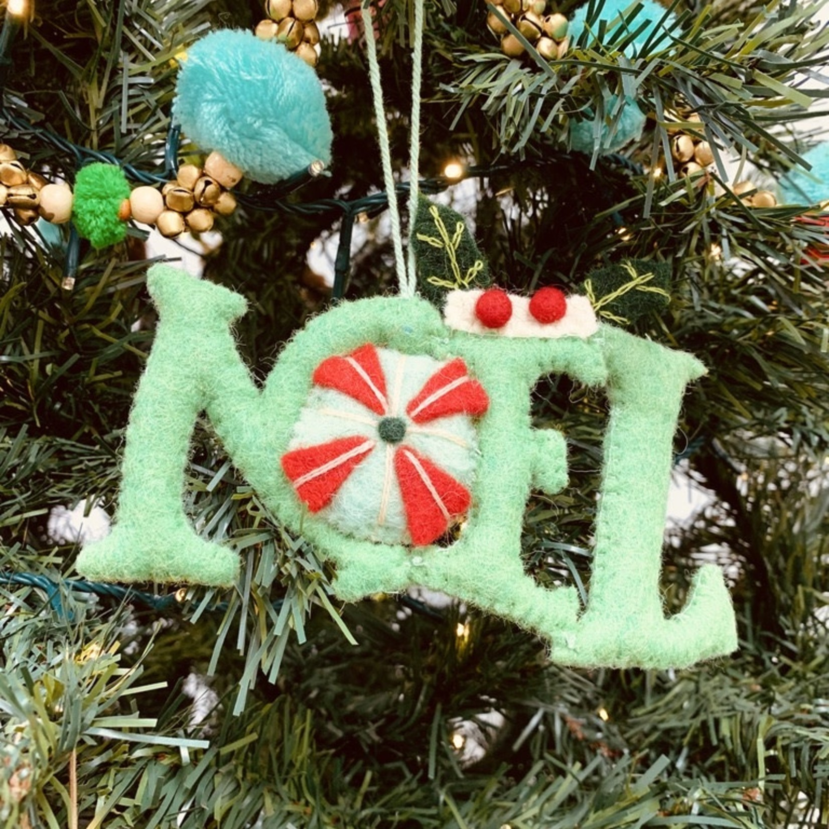 """5""""H Wool Felt Noel Ornament with Embroidery"""