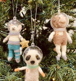 Wool Felt Animal Astronaut Ornament