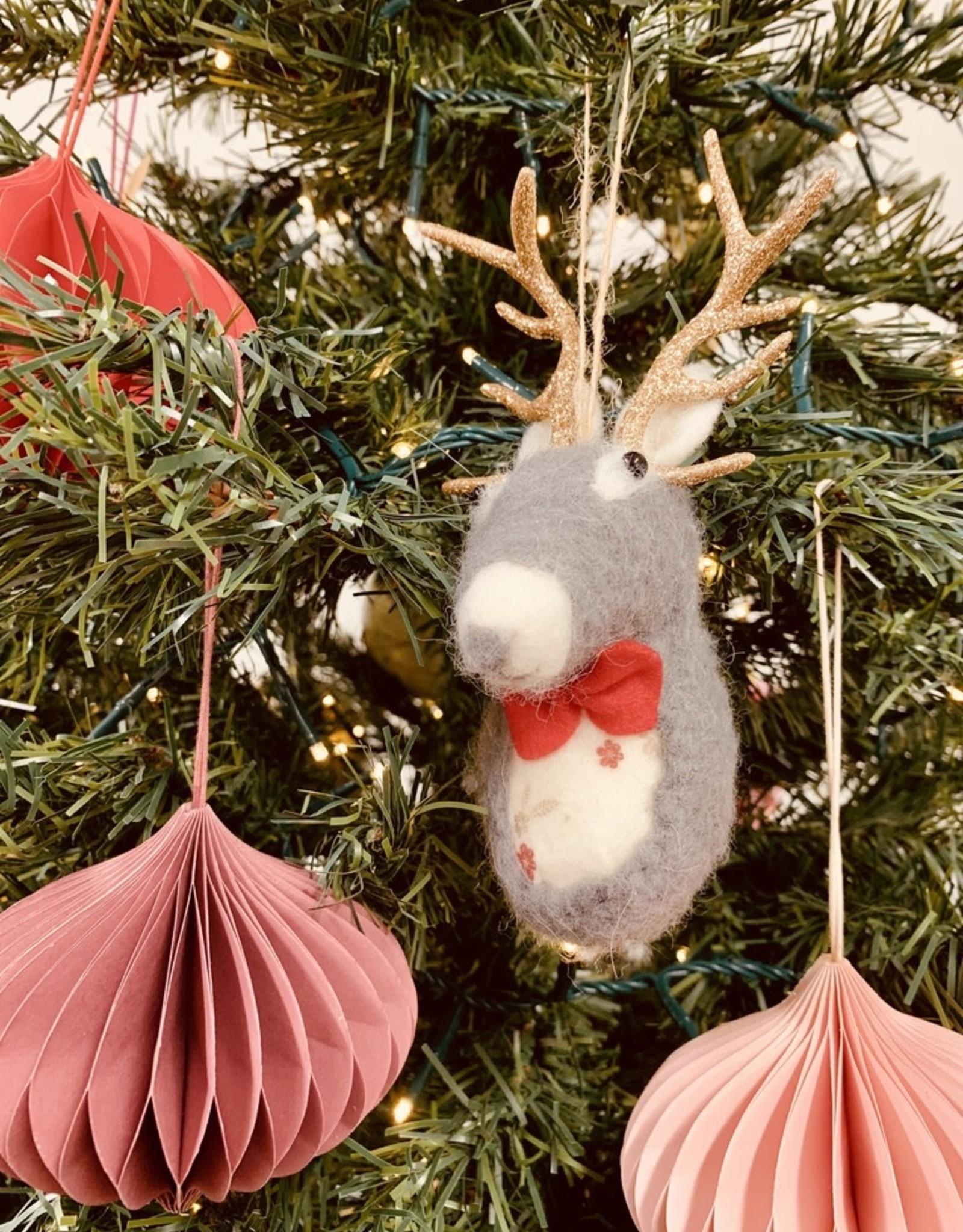 """Wool Felt Deer Bust Ornament, 4-3/4""""H"""