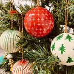 """Paper Mache Holiday Ball Ornaments 3"""""""