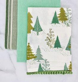 CREATIVECOOP Wintergreen Set/3 Cotton Printed Tea Towels