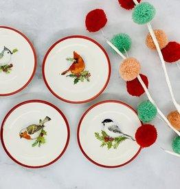 """3"""" Red Rim Bird Dish"""