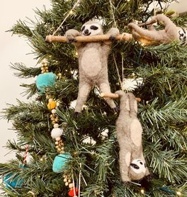 """CREATIVECOOP 6-1/4""""L Wool Felt Sloth Ornament"""