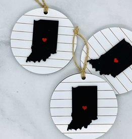 Round Ornament - Indiana State with Heart