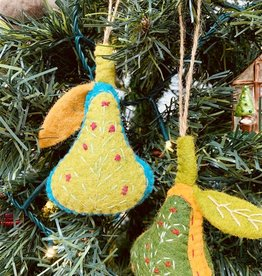 "4-1/2"" Wool Felt Pear Ornament"