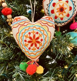 "CREATIVECOOP 4""H Embroidered Fabric Heart Ornament with Pom Poms"