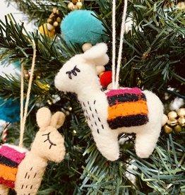 Embroidered Felt Wool Llama Ornament