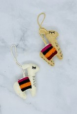 CREATIVECOOP Embroidered Felt Wool Llama Ornament