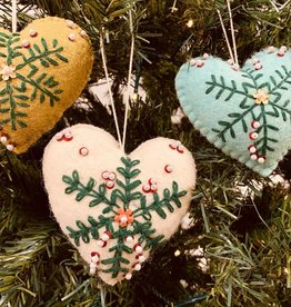 """CREATIVECOOP 4""""H Wool Felt Heart Ornaments with Embroidery & Beads"""
