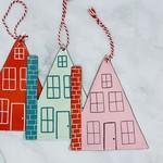 "6-1/4"" Enameled House Ornament"