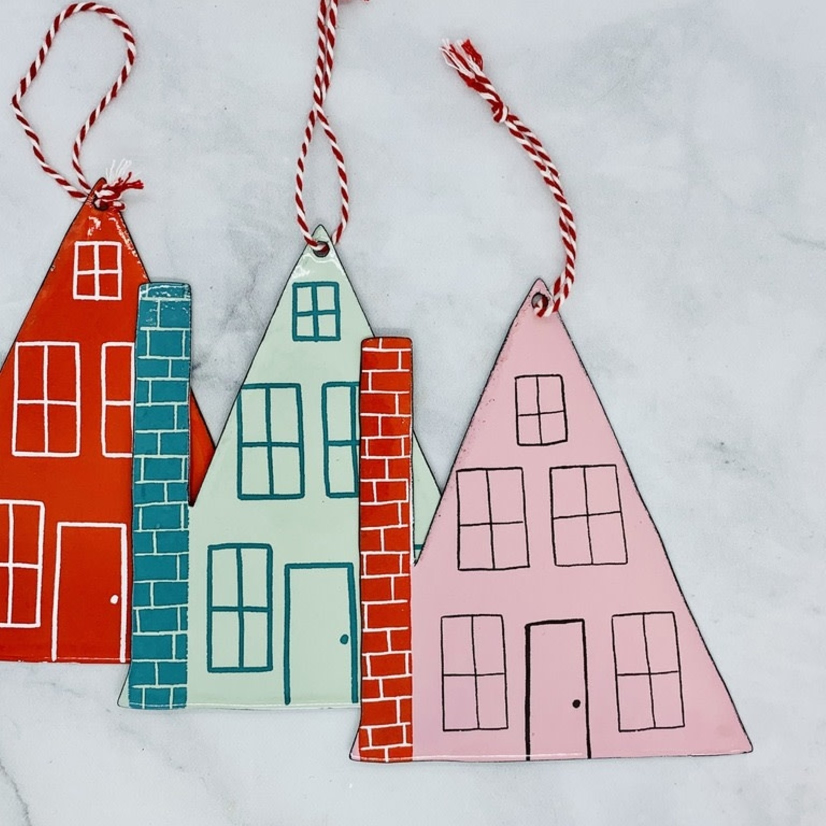 "6-1/4"" Enameled House Ornament"