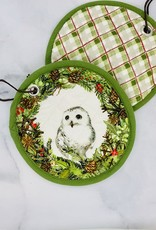 "8"" Round Woven Cotton Pot Holder with Owl"