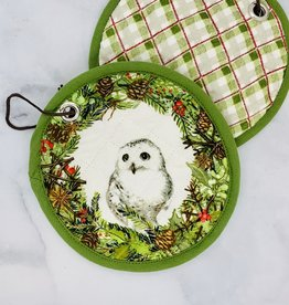 """8"""" Round Woven Cotton Pot Holder with Owl"""