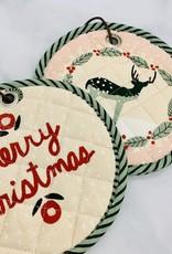 "8"" Round Cotton Pot Holder Merry Christmas"