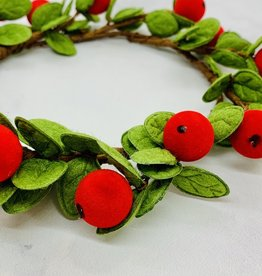 """7"""" Round Felt Wreath with red Berries"""