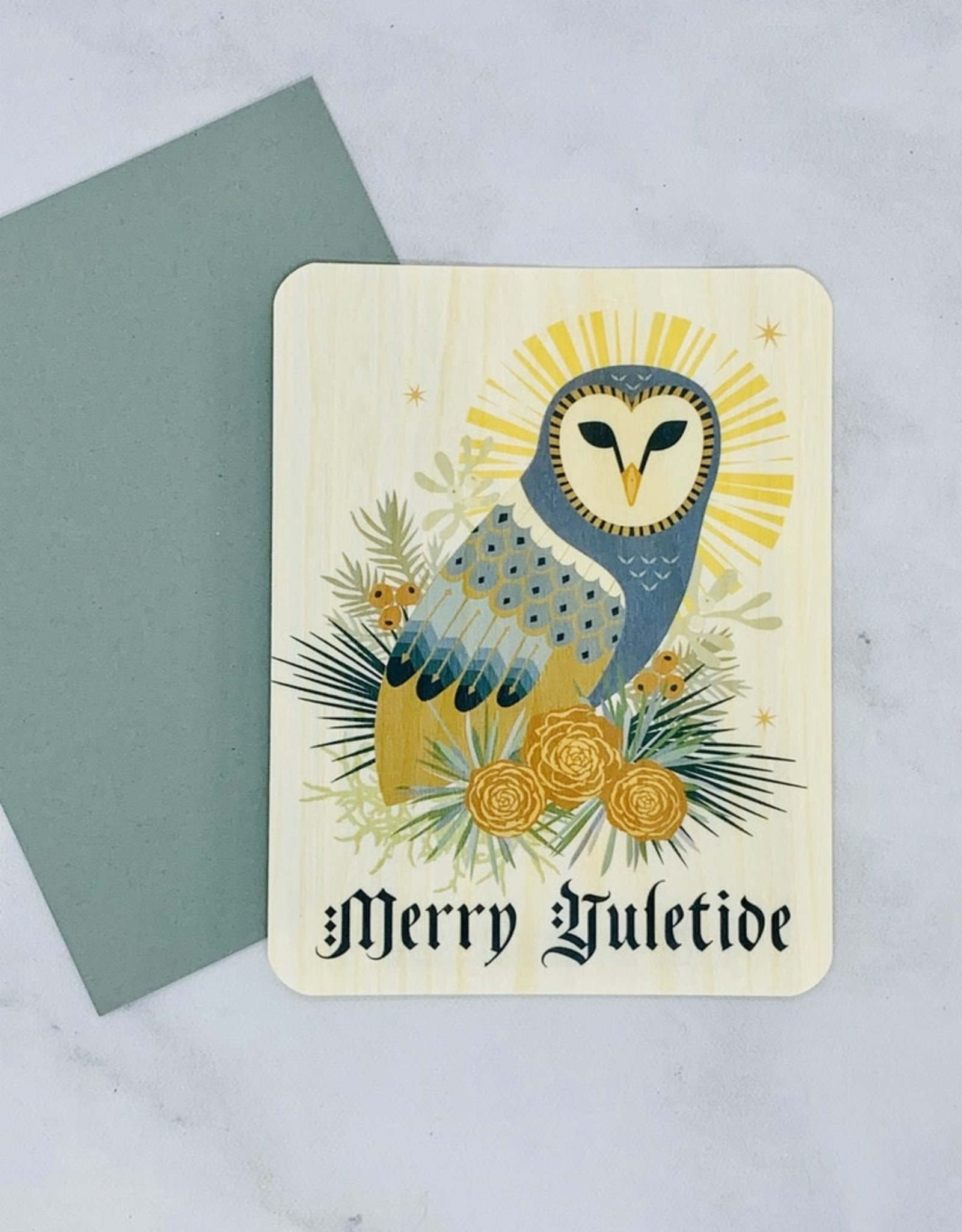Little Gold Fox Designs Yule Owl Wood Card