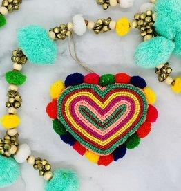 "3-1/2""H Glass Bead Fabric Heart with Pom Pom"