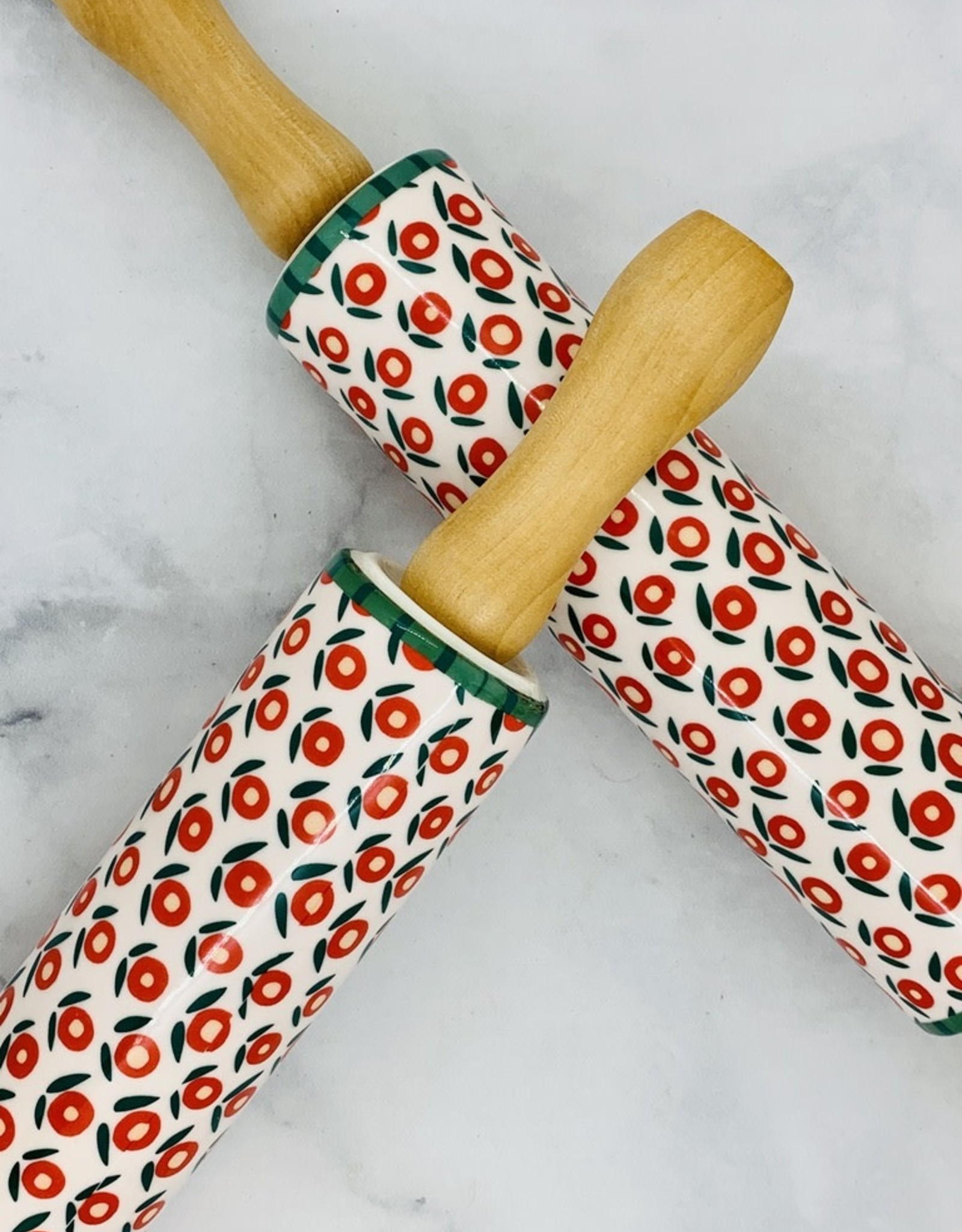 """18"""" Stoneware Rolling Pin with Flower Pattern"""