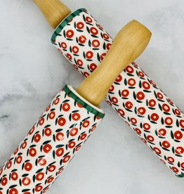 "18"" Stoneware Rolling Pin with Flower Pattern"