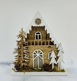 """6""""L x 7""""H Wood House with Trees and LED Light"""