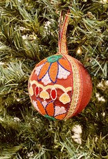 "4"" Round Fabric & Ribbon Embroidered Ball Ornament"