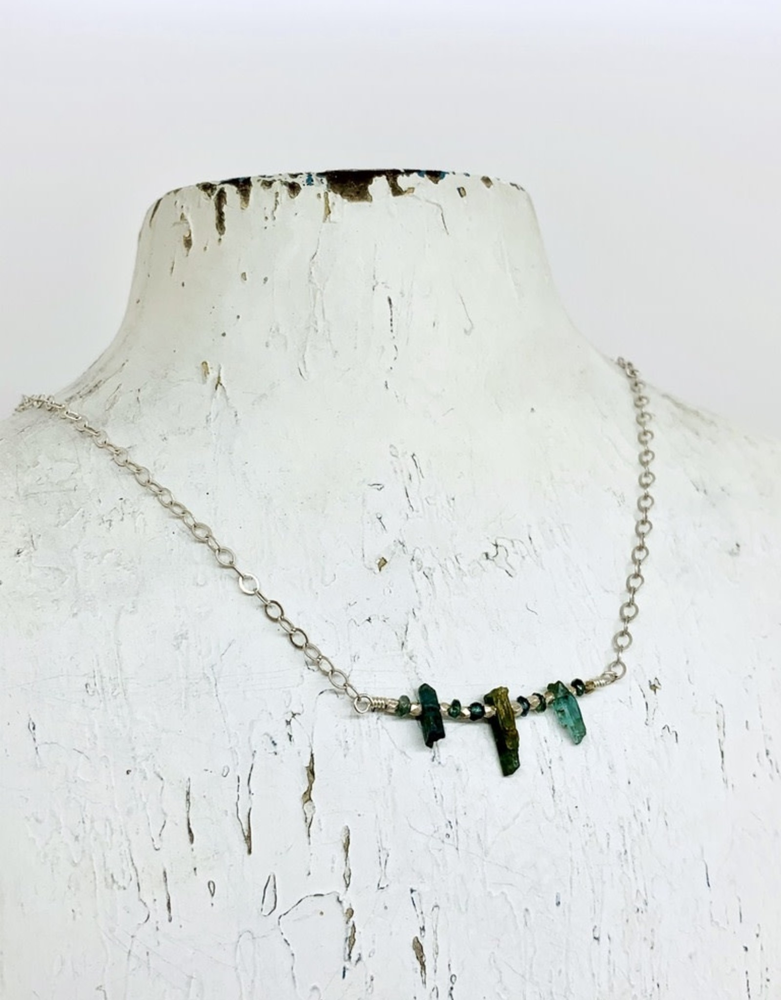 Handmade Silver Necklace with 3 green tourmaline, rondelles, faceted silver bar across, silver
